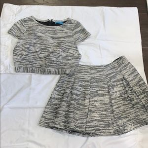 Alice + Olivia Pleated Short Skirt and Cropped Top